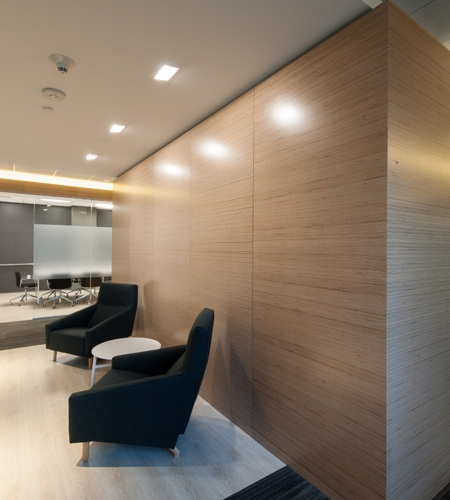 Modern Office Interior With Natural Birch Plywood