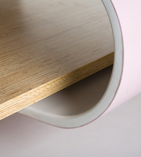 Plexwood® Architectural wood paneling with a reverse plywood material assembly on two