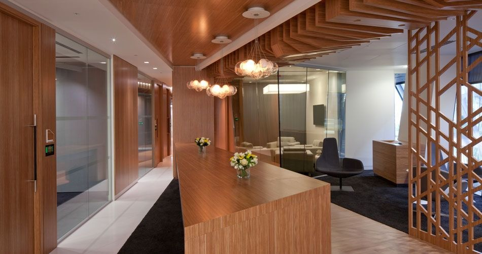 Plexwood® CBRE Global Investors state of the art integrated office interior design concept in ocoumé laminated plywood