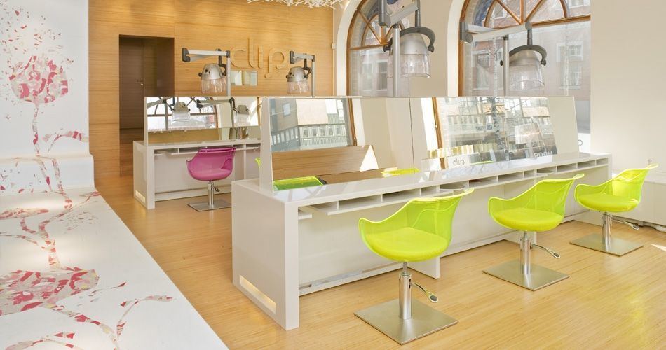 Plexwood® Clip hairdresser store design concept with parquet floor, wall with matching logo, stairs and door