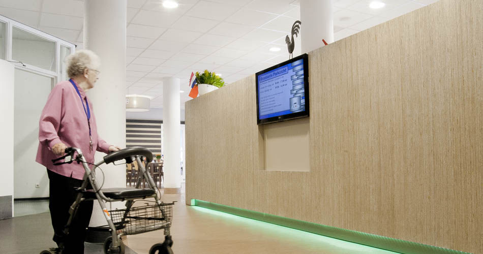 Common room communication wall canteen counter and for Hermkes interieur