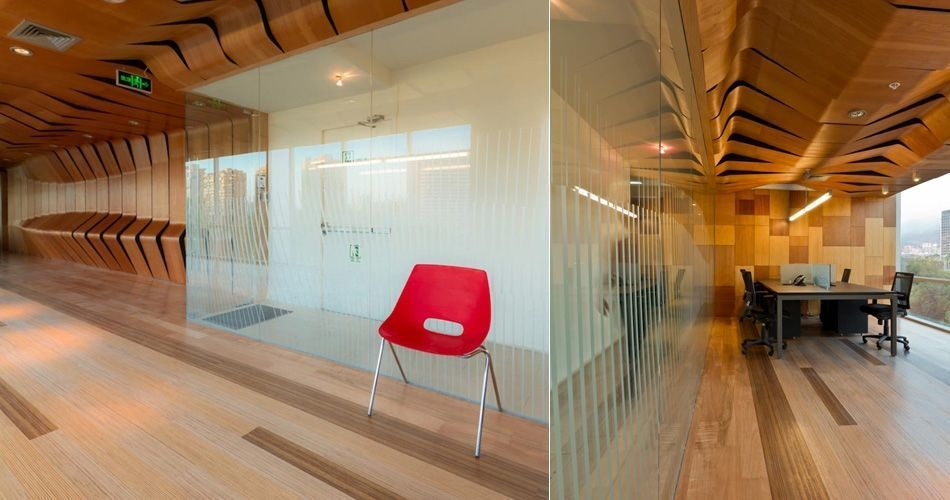 Plexwood® Infodema and Rebest office showroom mixed solid comprised surface plywood flooring