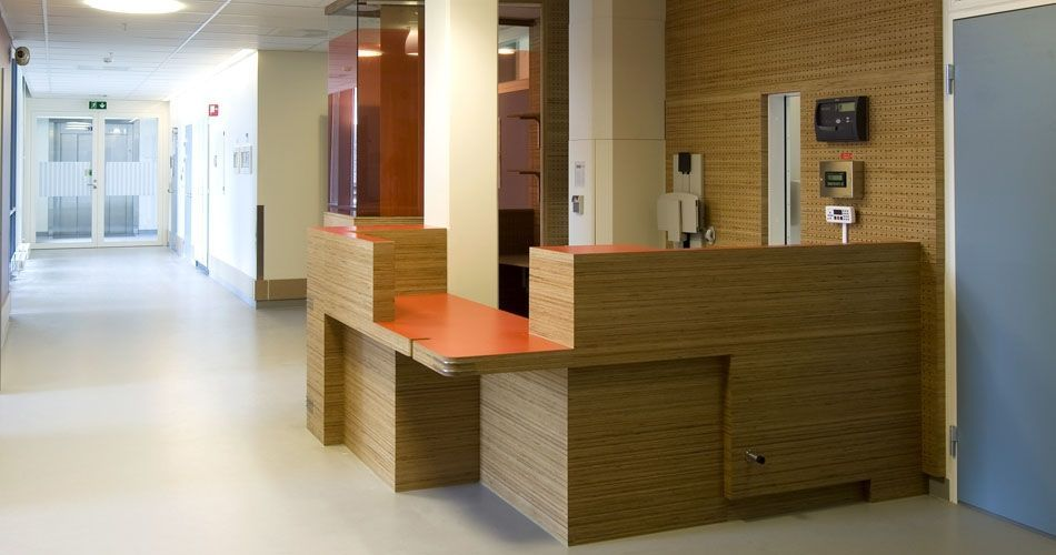 Plexwood® St. Olav's Academic Hospital environmentally responsible wood with safety requirements for medical interior applications