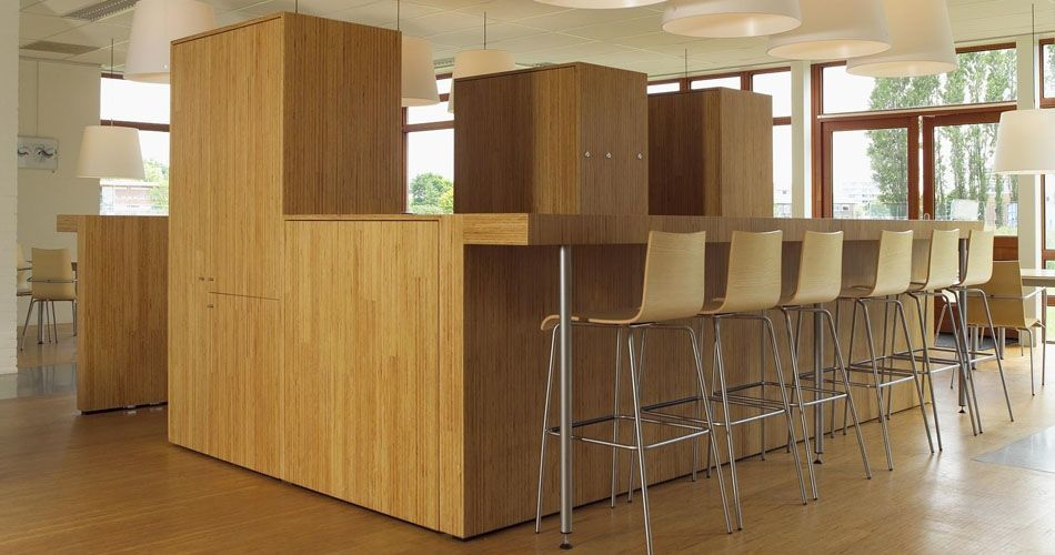 Plexwood® Foundation for Wood Research SHR sustainable pine surfaces for café bar coffee corner