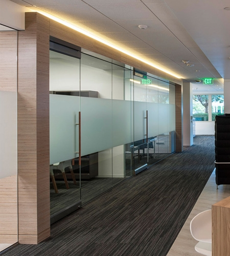 Plexwood® Carillon Point office design with birch Plexwood beams and wall details