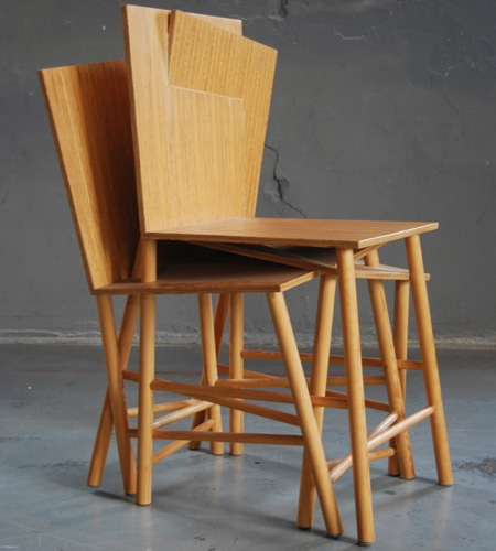 Plexwood® Charlotte Girod eccentric 3-in-1 chair design with seating of professional pine end-ply panel two-sided