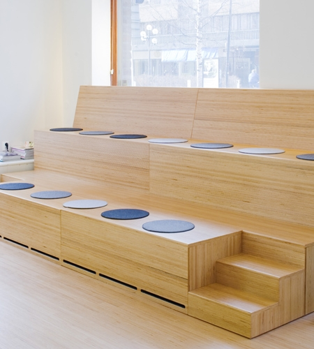 Plexwood® Clip seating element and floor from beech professional contrariwise glued plywood veneer panels