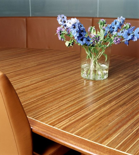 Plexwood® Consultancy Firm table detail in meranti cross-banded plywood surface veneers