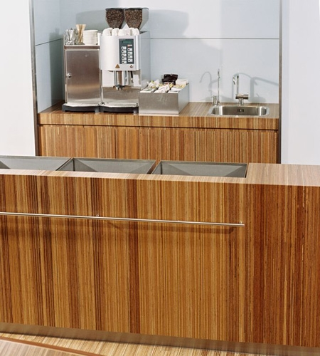 Plexwood® Consultancy Firm kitchenette overview in the coffee corners in meranti re-ply fineline