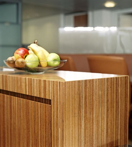 Plexwood® Consultancy Firm coffee corner furniture detail in meranti edges of exposed plywood