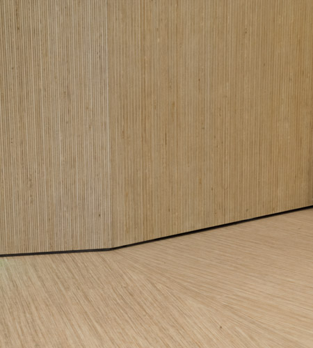 Plexwood® De Meeuwbeemd Elderly Care Home floor counter detail in deal remodelled end plywood veneers