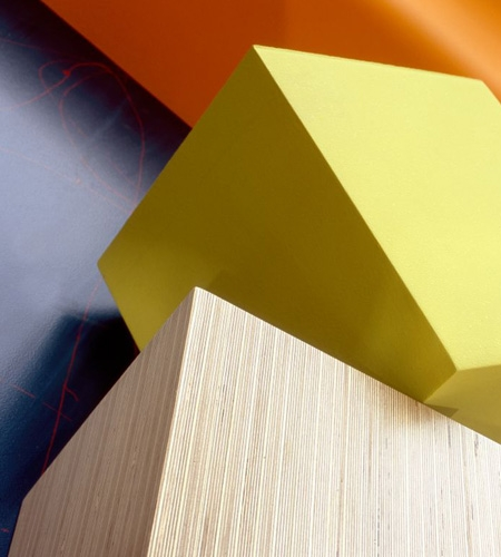 Plexwood® De Tweern small cube table detail with re-glued birch architectural plywood surface