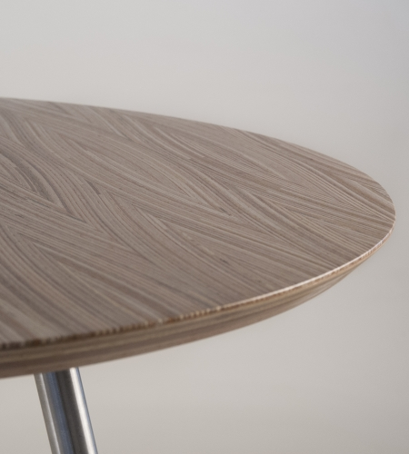 Plexwood® Frank Heerema fantastic modern marquetry design table from re-stacked and moulded plywood veneers