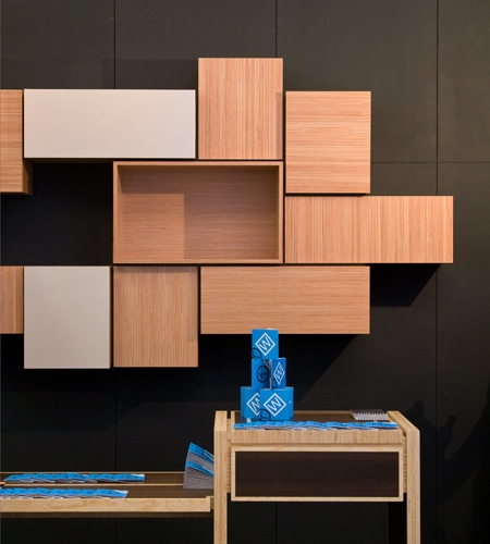 Plexwood® Kastwerk Woonbeurs wall hung cabinetry in ocoumé re-clamped plytype lay-up surface veneers
