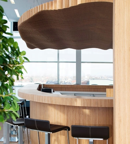 Plexwood® Koppert Machines relief ceiling, curved bar and wall in luxurious natural beech cladding