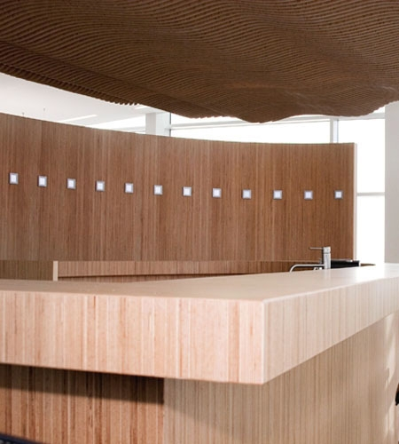 Plexwood® Koppert Machines detail of a round bar with relief ceiling and wall in high-end beech design paneling