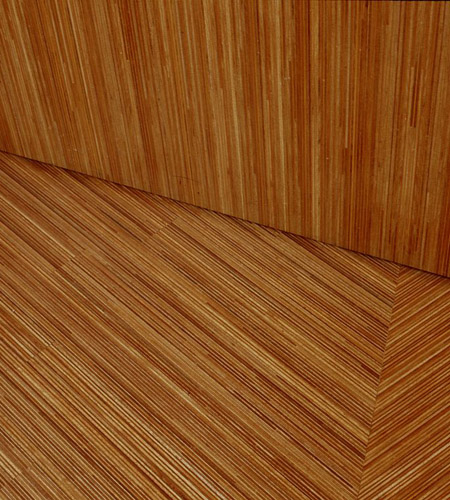 Plexwood® MuZIEum detail of the floor with display in ocoumé plywood design composite
