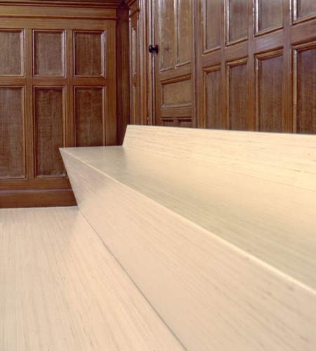 Plexwood® Nijmegen bench seats for a court room in poplar top-glued multi-layer sandwich veneer plywood