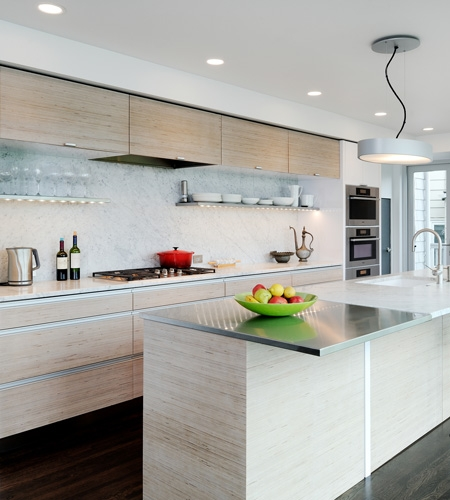 Plexwood® Private home living kitchen project from birch short end inverse plywood veneer panels