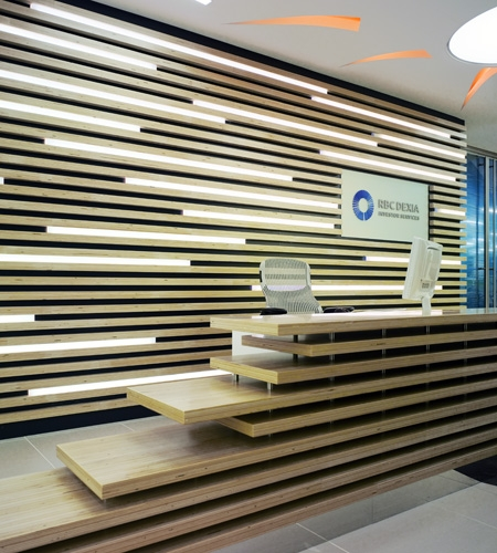Modern cool interior bank office design in natural wood materials