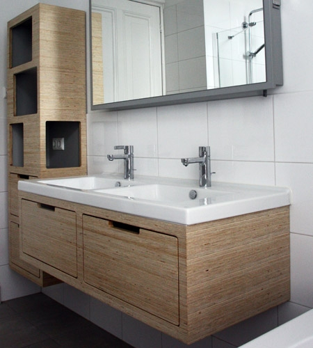 Plexwood® Amsterdam residence bathroom with wall mounted sink cabinetry and wall mounted storage cabinet in deal