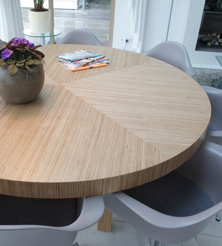 Plexwood® Homely kitchen living dining table with geometric pattern in birch cross-banded plywood veneer