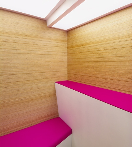 Plexwood® SoSushi detail corner of two walls with birch high end techno plywood veneer paneling