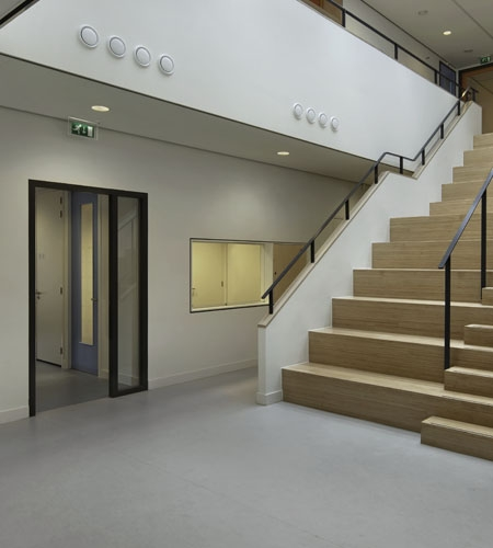 Plexwood® Van Brienenoord School central heavy-duty staircase seating and stairs with birch sliced plywood composite