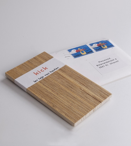 Plexwood® Van Houten family wooden baby announcement card in solid deal strips with vertical ply lining