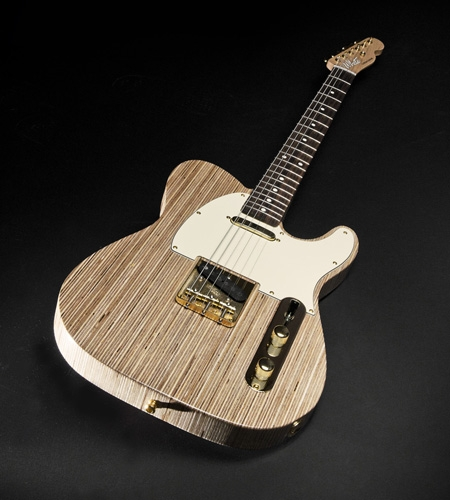 Plexwood® White Custom Guitars telecaster electrical guitar from engineered surfaced birch solid short-ply
