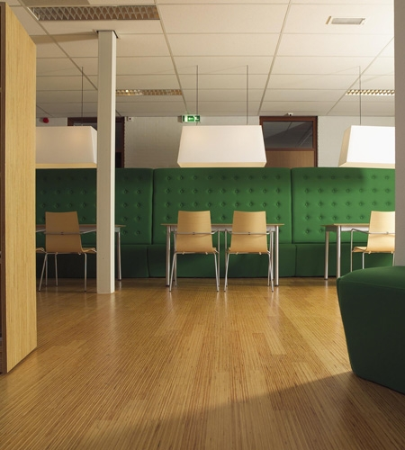 Plexwood® SHR lunchroom floor with green pine high performance solid linear plywood parquet