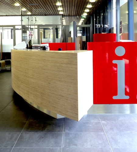Plexwood® Zeeburg Community District Office information desk detail in birch plytype strip veneer