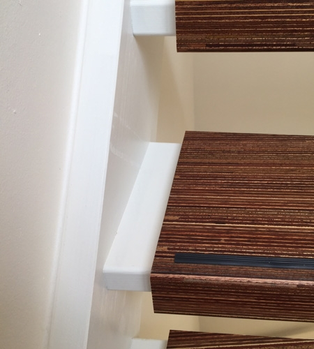 Plexwood® meranti graphic wooden staircase tread covers