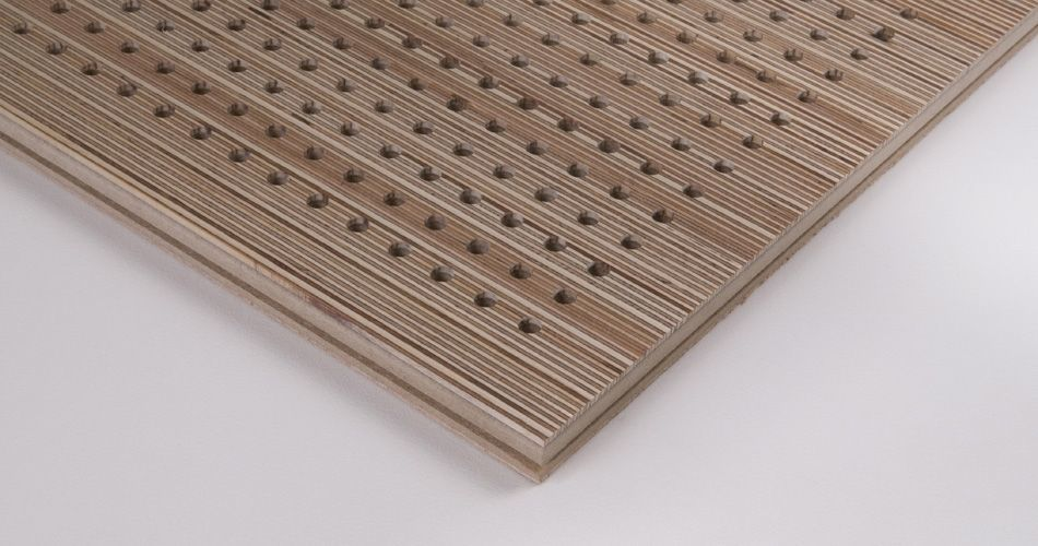 Acoustic tile for wall and ceiling, macro-perforation D-16