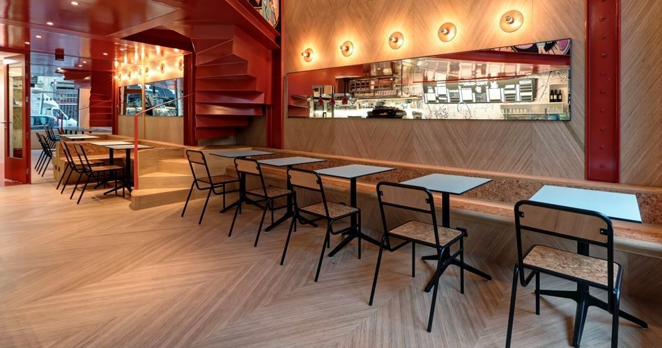 Plexwood® Charli Sale Brussels bakery, restaurant and take away café with Geometric patterned interior design