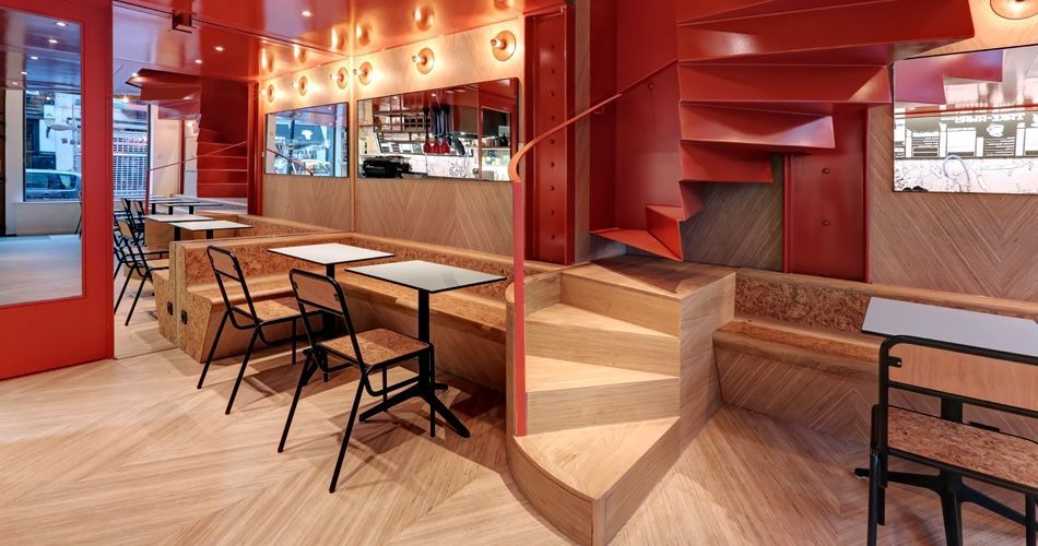 Plexwood® Charli Salé bakery, taco and sandwich shop woth modern design styled wooden flooring and geometric feature walls