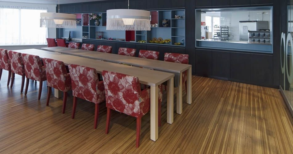 Plexwood® Avondzon Nursing Home common room annex canteen in meranti up-lined hardwood solid parquet