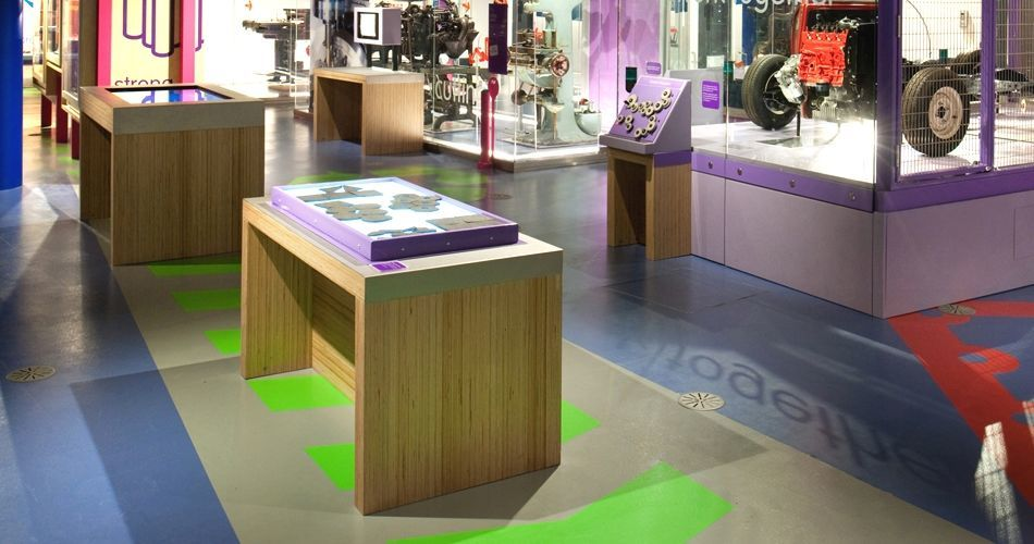 Plexwood® Birmingham Science Museum exhibition tables in birch vertical cut veneer plywood