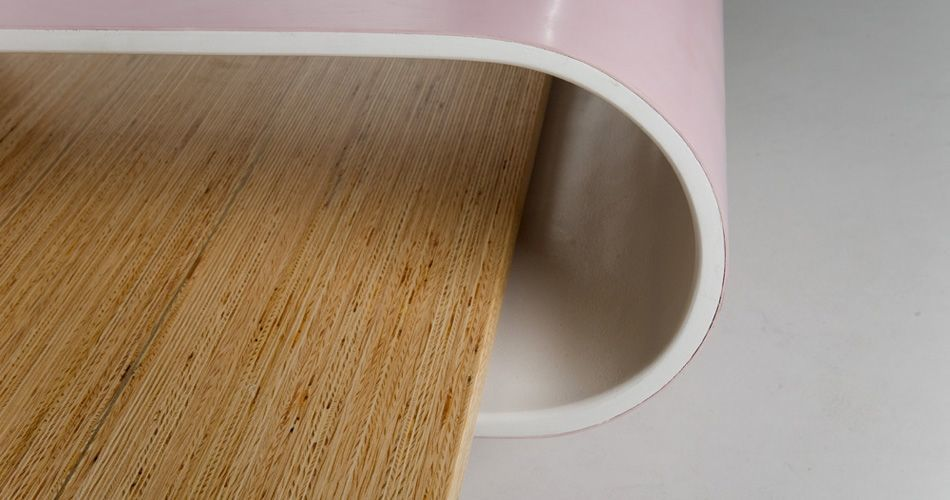 Plexwood® Breg Hanssen Slide Table detail with pine composite veneer plywood and round white HPL element