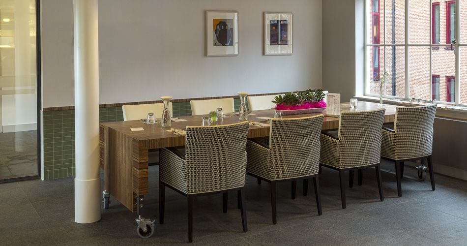 Plexwood® De Wartburg Care Hotel large multifunctional table on wheels from meranti end-glued plywood veneer panels