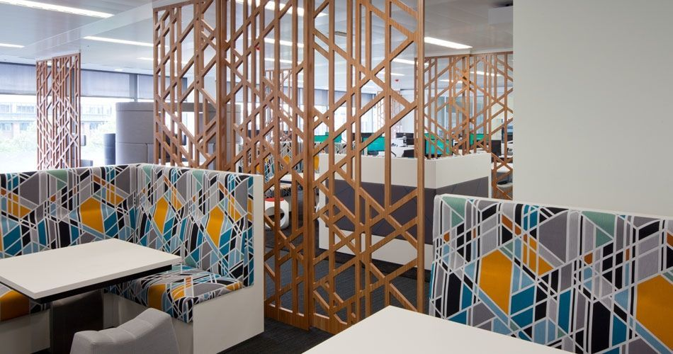 Plexwood® CBRE Global Investors cnc cut open wall partitioning screens in ocoumé inverse veneer plywood