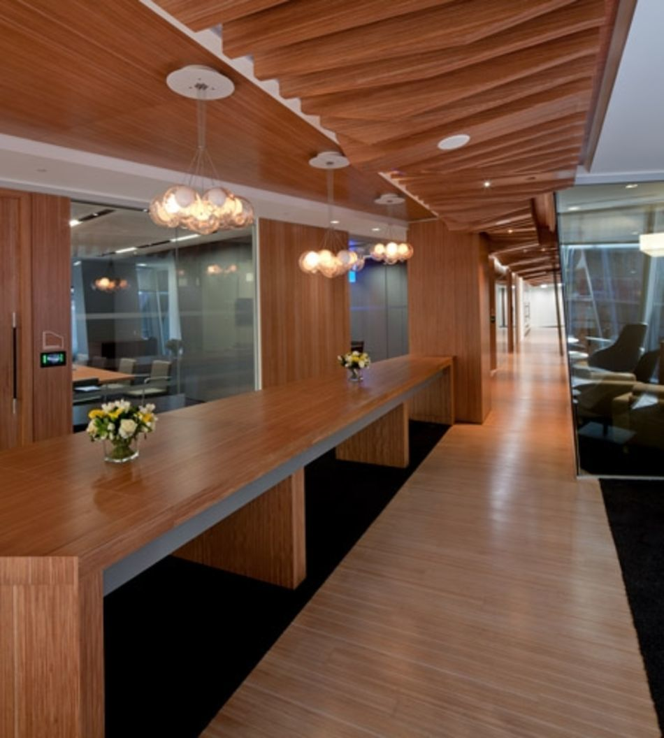 Plexwood® CBRE Global Investors sustainable concept interior in ocoumé reconstructed hardwood plywood