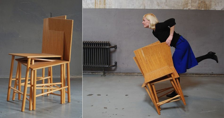 Plexwood® Ssstoel eccentric chair design by Charlotte Girod with seating of pine re-ply veneers