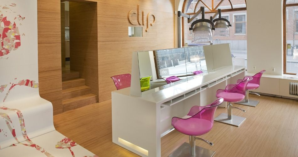 Plexwood® Clip hair salon concept with responsible beech surface cladding for floor, wall, logo and staircase