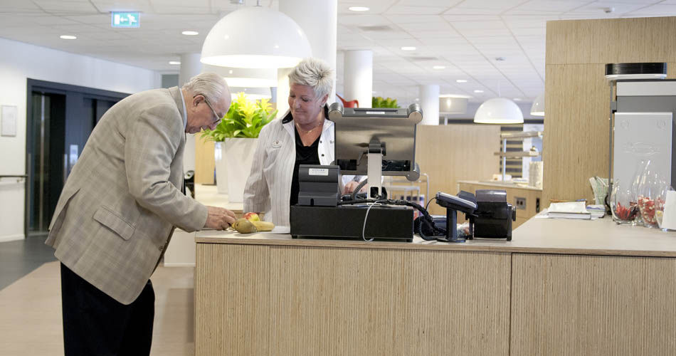 Plexwood® De Meeuwbeemd Elderly Home canteen furniture application  with cash counter from deal veneer panels