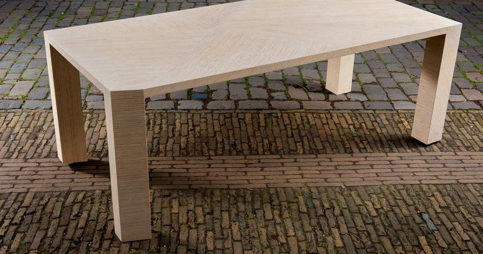 Plexwood® Saskia Dekker-Dorresteijn for Deuvel Design geometric table PER-PLEX with sliced solid deal plywood strips