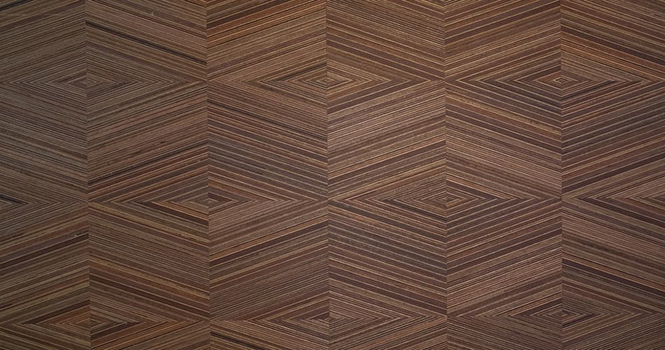 Plexwood® Square geometry designs in interior wood materials with an angle of 0, 15°, 30°, 45° or 90°