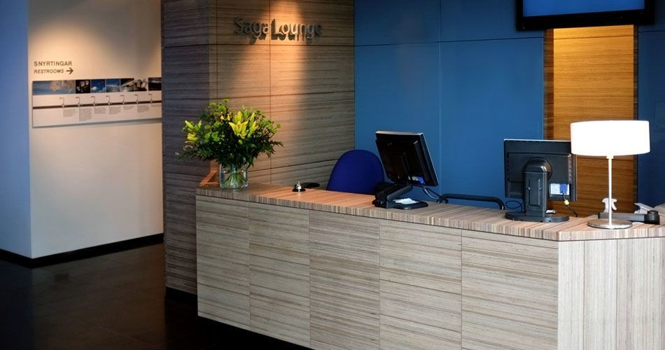 Plexwood® Iceland Air Saga Lounge reception desk and wall covering meranti fire retardant mdf safety design paneling