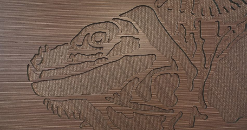 Plexwood® Annebel Noltes designer cnc routed creative fine wall art project in ocoumé and green mdf