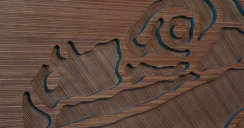 Plexwood® Annebel Noltes wooden wall art décor  from a special panel built up in ocoumé and green mdf